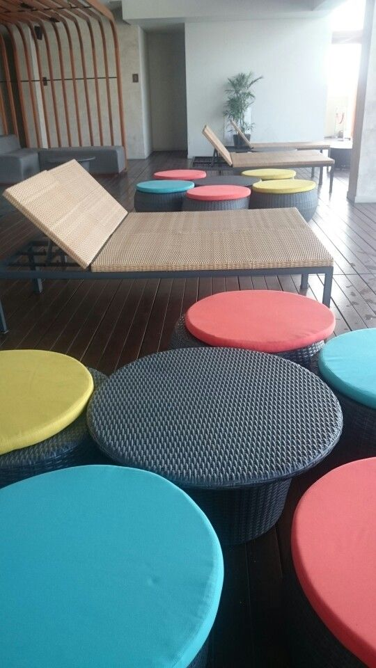 Colorful rattan chairs.