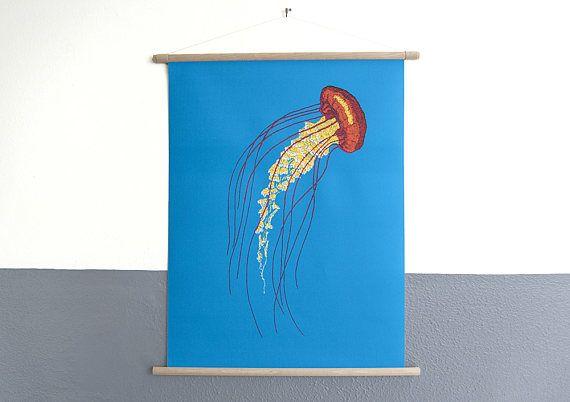 canvas poster Stitches  Jellyfish print van geborduurde