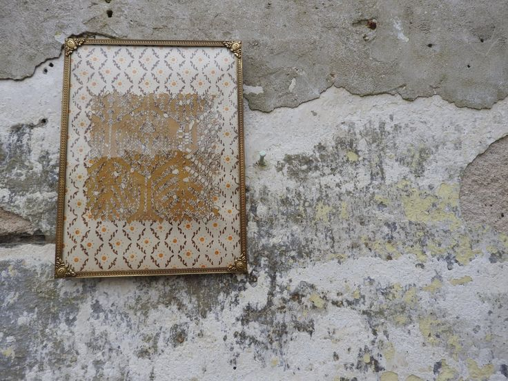 Laser cut on derelict croft house wall