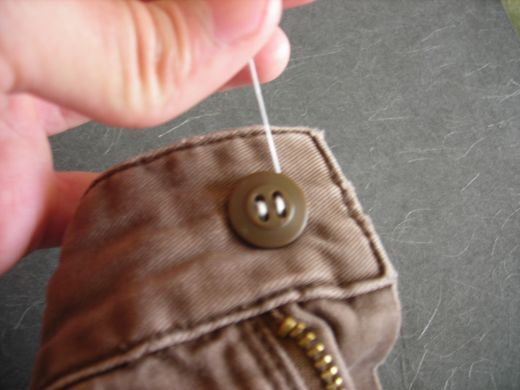how to sew a button on pants. It really works!!
