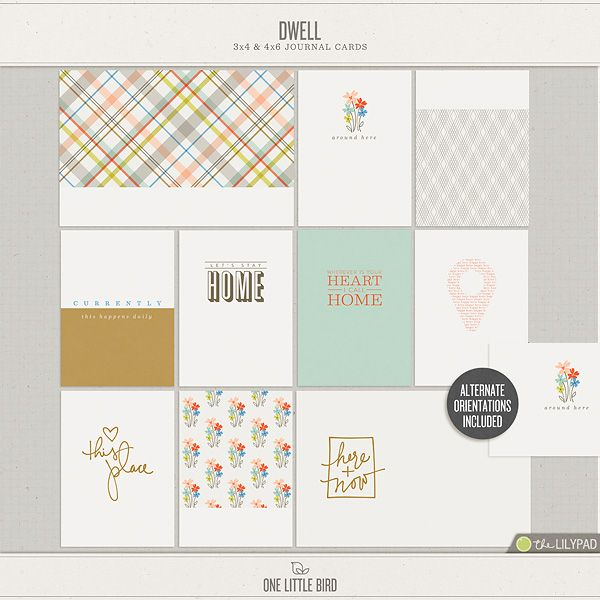 Dwell | Printable Journaling Cards | One Little Bird