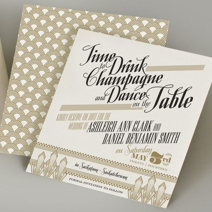 Glamourous in Gold Save the Date. $3.50, via Etsy.