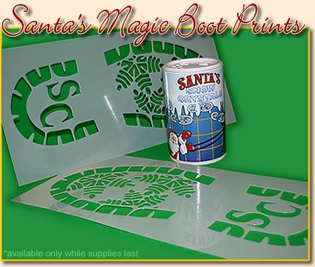 """Santa Bootprint: make your own stencil and use baking soda/flour/baby powder/etc. I might even mix in some glitter and make it special """"North Pole"""" snow!!"""