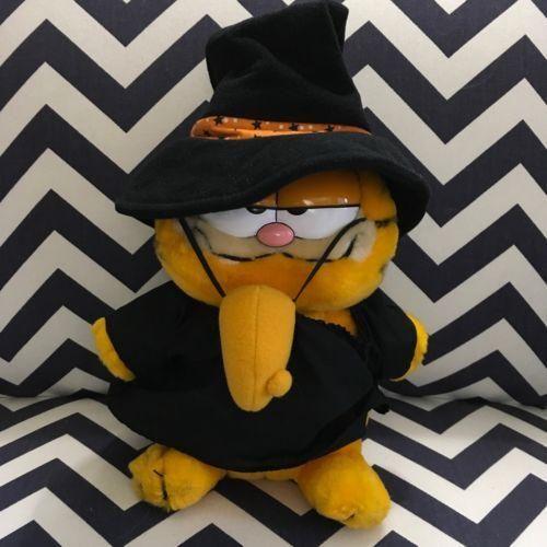 """#128 Vintage Dakin 1981 Garfield Halloween Witch Nose 10"""" Stuffed Plush"""