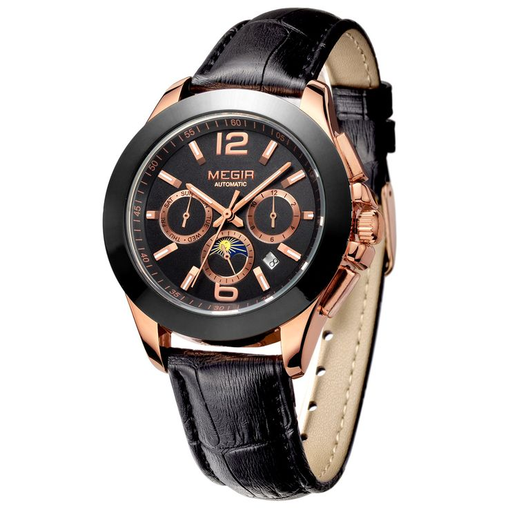 MEGIR 2016 men 's watch mechanical military rose gold business casual leather funky luxury designer dress gentleman stylish army