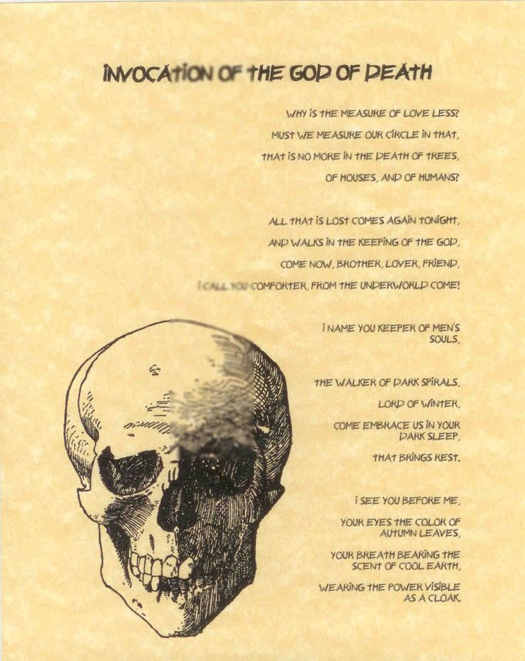 Book Of Shadows Page Invocation The God Death