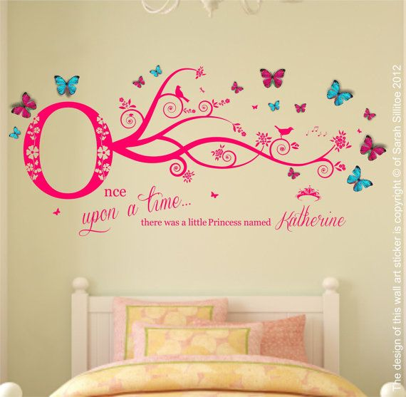 Personalised Name, Once Upon a Time Princess - Wall Art Sticker & 3D Clear Plastic Pink, Blue Butterflies, Girls Bedroom 80cm W x 40cm H