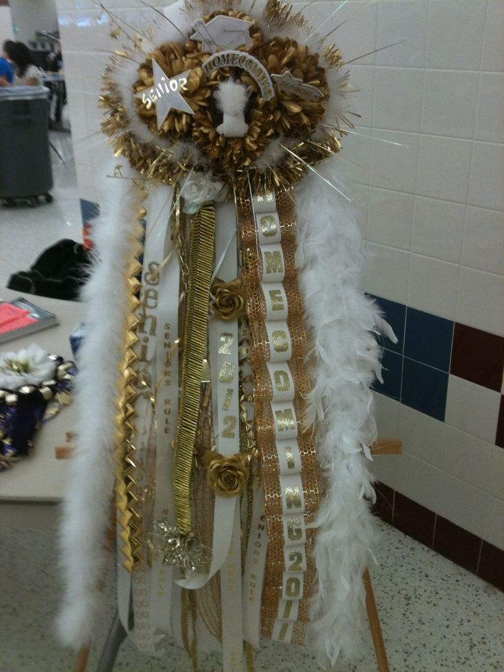 Homecoming Mums - Senior White and Gold Mum for Homecoming - Denton Broncos - Special Event Floral Designs