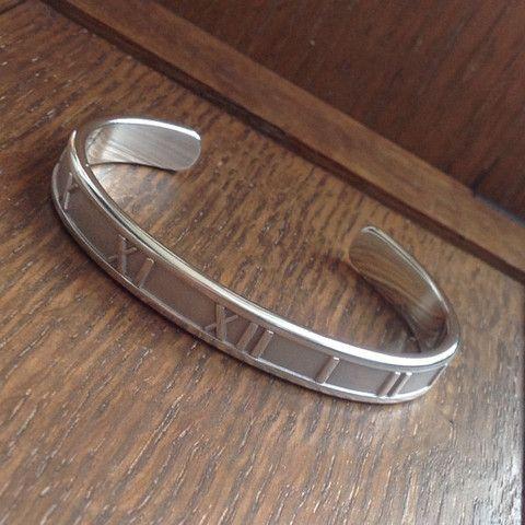 Estate Tiffany & Co Atlas Silver 1995 Roman Numeral Cuff Bracelet   www.WashingtonianCollectibles.com