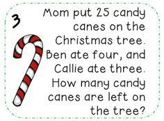 {FREE} Christmas Math Word problems. Perfect for December math stations and math journals.