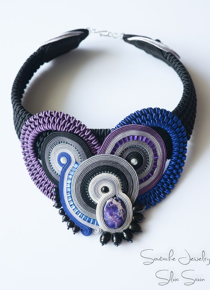 Abstract Love Handmade Soutache necklace Blue / Purple / Black  / Shades of Grey