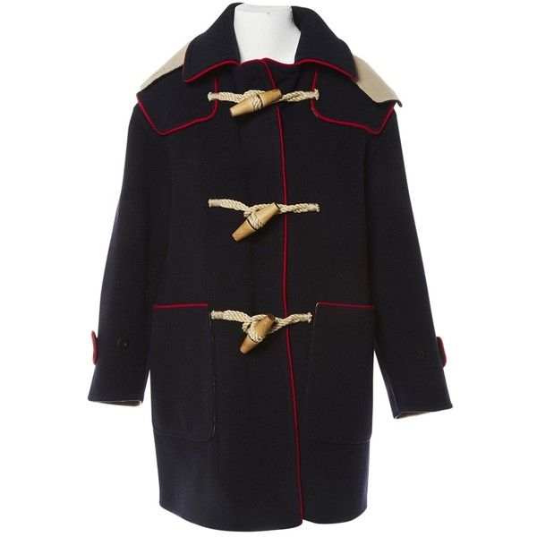 Pre-owned Burberry Wool Dufflecoat (14.520.515 VND) ❤ liked on Polyvore featuring outerwear, coats, navy, women clothing coats, bow coat, wool coat, burberry, navy blue coats and navy blue wool coats