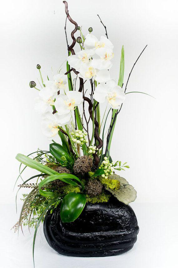 Contemporary Black Textured Vase White Floral Arrangement