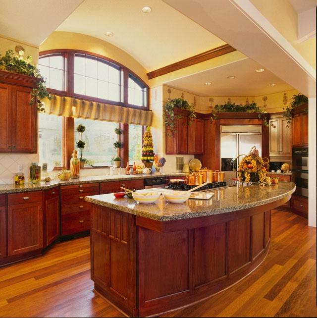 Kitchen Designs With Center Window: Arch Window & Center Island Cooking