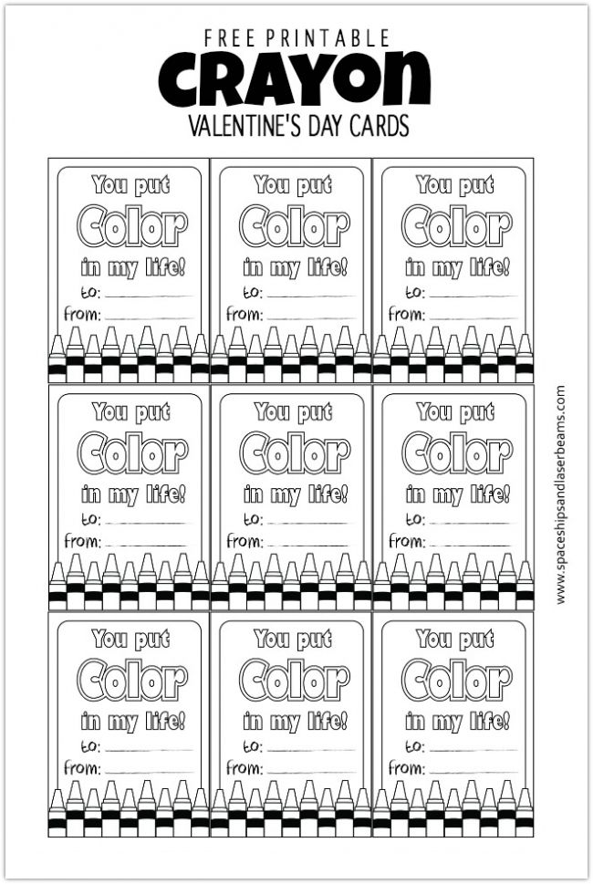 Non Candy Valentine's Day Card Ideas Using Free Crayon Printable ...