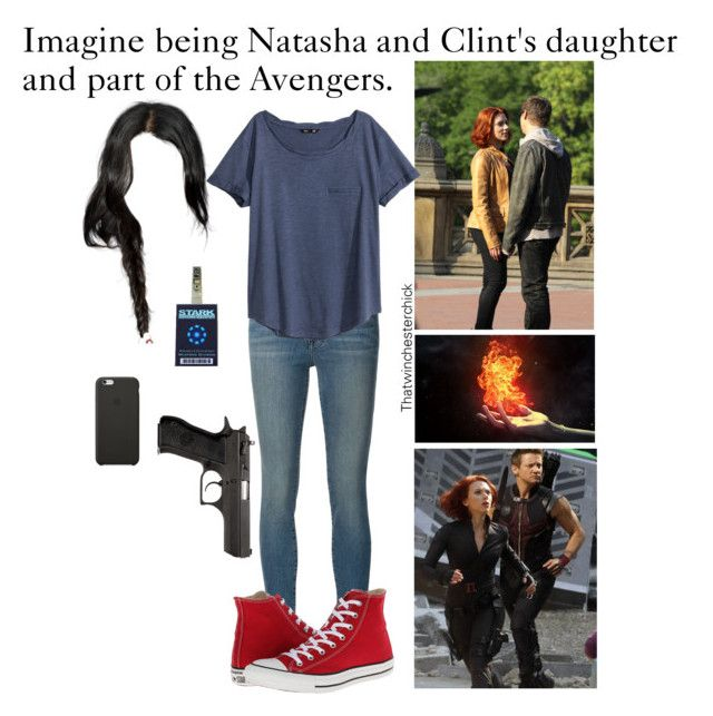 """""""Imagine being Natasha and Clint's daughter and part of the Avengers."""" by thatwinchesterchick ❤ liked on Polyvore featuring Frame Denim, H&M, Black Apple and Converse"""