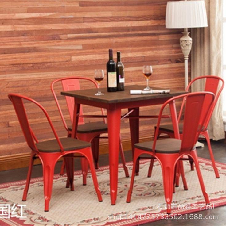 Прямая железный завод дерева столовая tin добыча ветер квадратный стол кафе столы и стулья сочетание