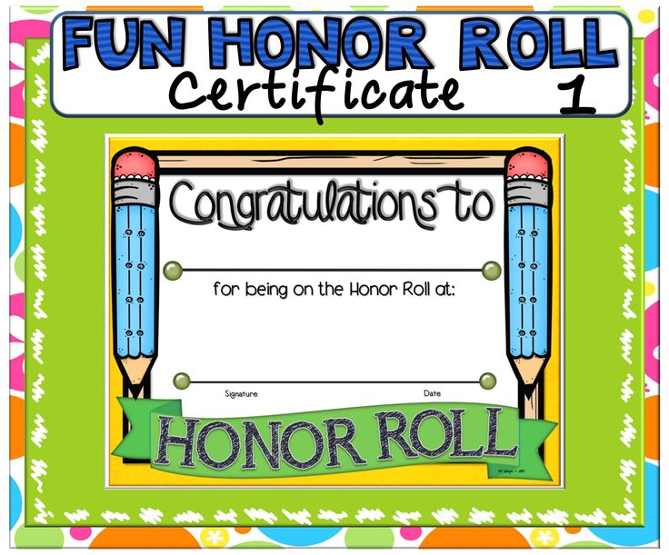 Certificates awards fun honor honor roll paradise certificates roll 1