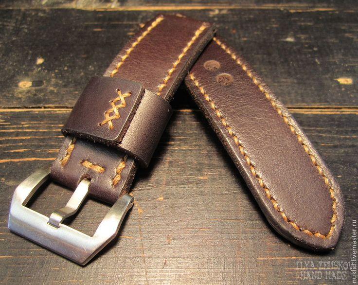 Купить Кожаный ремешок для часов Panerai - коричневый, ремешок для часов, ремешок из кожи, ремешок на часы