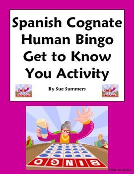 Spanish Cognate Human Bingo Get to Know You Speaking Activity by Sue Summers