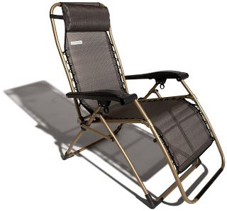 Strathwood Basics Anti-Gravity Adjustable Recliner Chair, Dark Brown with Champagne Frame | Strathwood Griffen | Strathwood Outdoor Furniture
