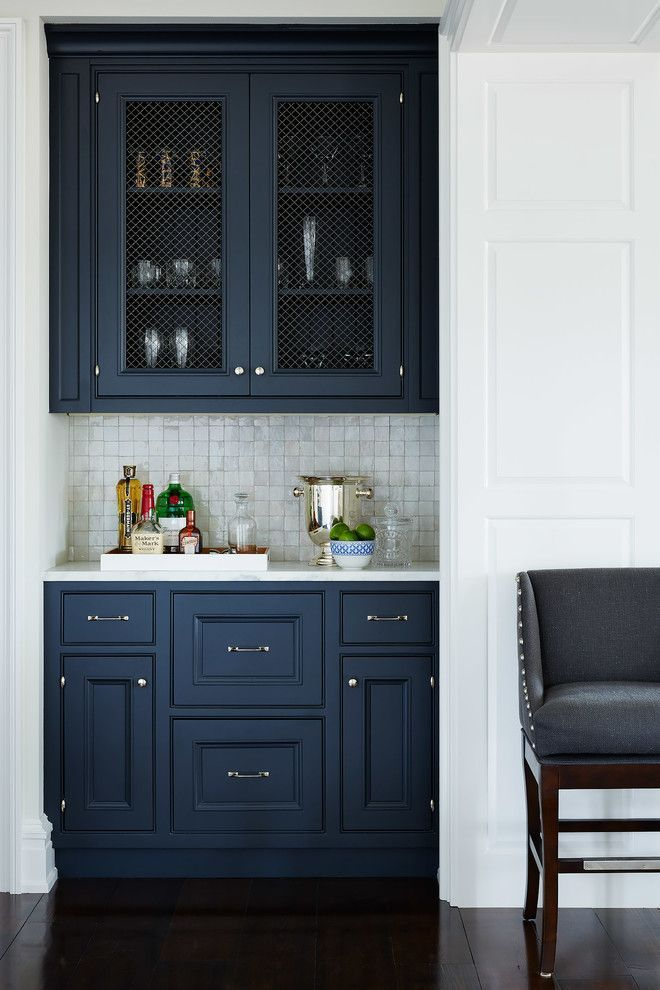Hidden Mini Bar Deep Blue Cabinets Square Tile Backsplash Clear View Cabinets White Countertop Blue Kitchen Cabinets Kitchen Inspirations Kitchen Remodel