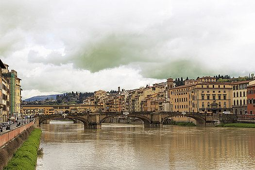 View of the Arno river and bridges in Florence, Italy. by George Westermak #George Westermak#travel#FineArtPrints#landscape#Florence