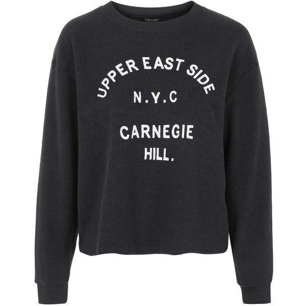 TOPSHOP Upper East Side Sweatshirt ($38) ❤ liked on Polyvore featuring tops, hoodies, sweatshirts, black, topshop tops, topshop, embroidered sweat shirts, black top and sweatshirts hoodies