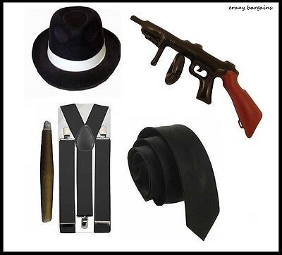Gangster #fancy dress mens hat tie braces #1920s al #capone roaring 20s pimp ciga,  View more on the LINK: 	http://www.zeppy.io/product/gb/2/322263637798/
