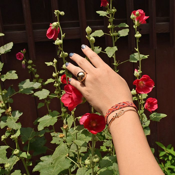 #goldplated #brass #ring and #bracelet with #red #miyukibead  by #helenarohner and #beaded #bracelet by #guanabana #mixandmatch