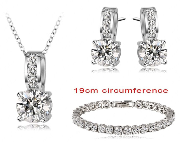 Platinum Plated Cubic Zircon Earrings/Necklace/Bracelet Fashion Set, AU$25.95