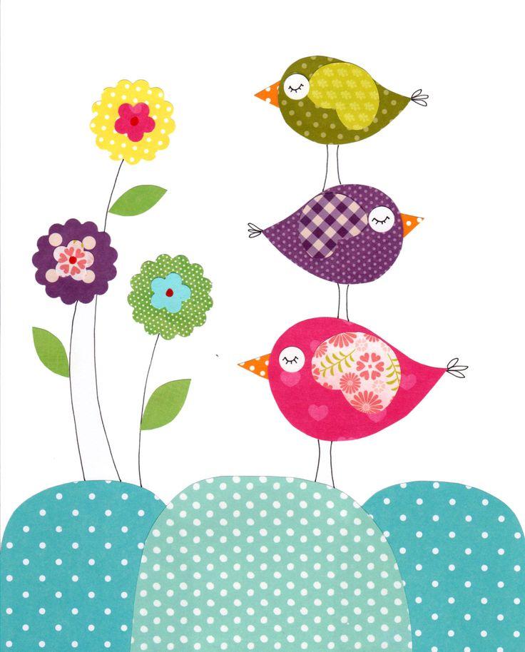 Birdsand flowers Nursery Artwork Print Baby Room Decoration
