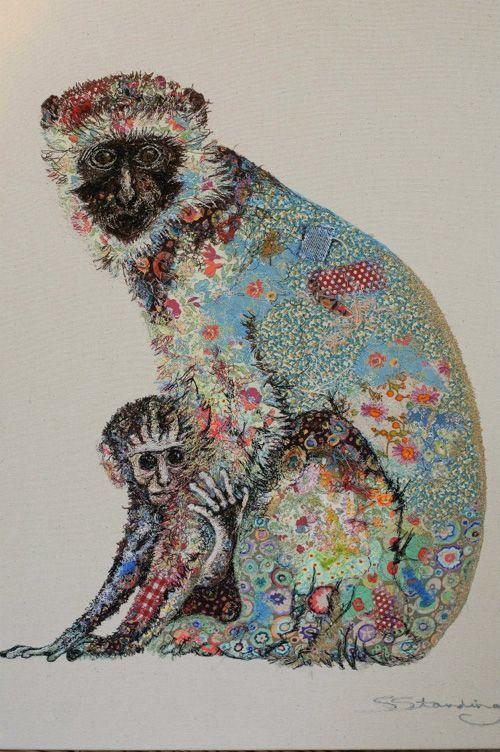 Textile art -  Artist Sophie Standing creates explosively colourful textile collages of animals - vervet.