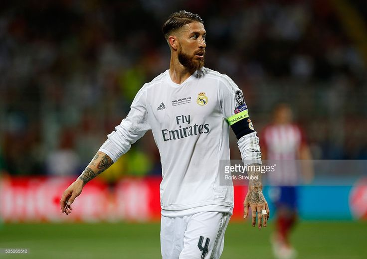 Sergio Ramos of Real Madrid looks on during the Champions League final match between Real Madrid and Club Atletico de Madrid at Stadio Giuseppe Meazza on May 28, 2016 in Milan, Italy.