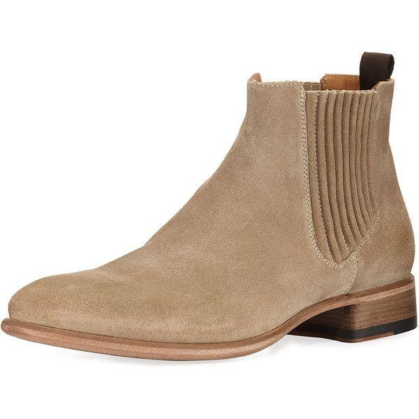 John Varvatos Eldridge Suede Chelsea Boot (2.220 BRL) ❤ liked on Polyvore featuring men's fashion, men's shoes, men's boots, brown, mens brown slip on shoes, mens suede slip on shoes, men's pull on work boots, mens round toe shoes and mens suede boots