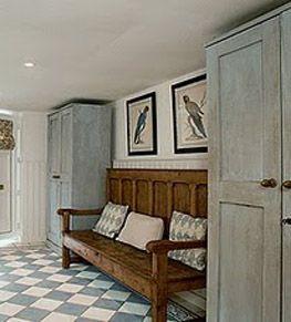 Country Interior Scandinavia - mudroom, gallery floor,  pantry floor - whole thing.