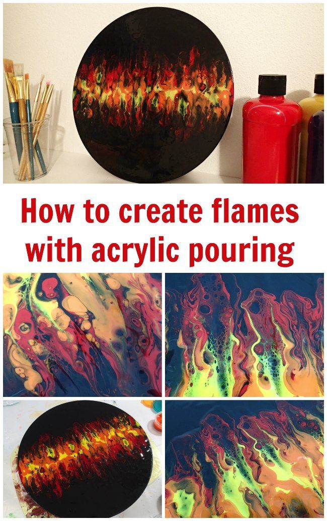 Blowing flames with acrylic pouring techniques - video tutorial on an old LP vinyl record