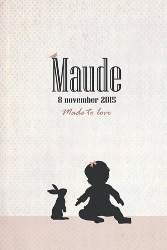 Geboortekaartje Maude - Pimpelpluis - https://www.facebook.com/pages/Pimpelpluis/188675421305550?ref=hl (# meisje - dieren - konijn - silhouet - lief - origineel)
