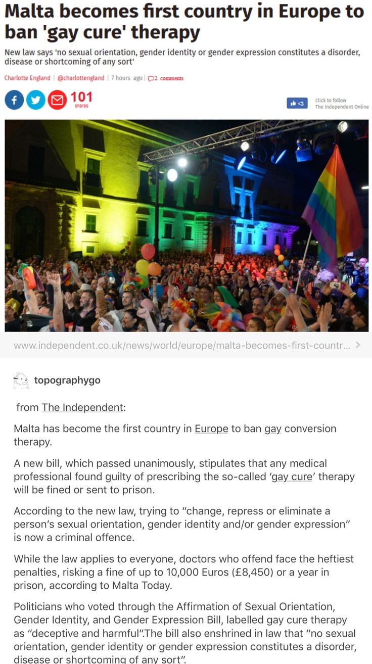 "Unfortunately, conversion therapy is still legal in the US.  If you don't know what it is, basically they take non-heterosexual children (some are as young as 13) and ""correct"" them by means of ""therapy"".  Many commit suicide, but they are told that being dead is still better than being gay.  Many come to sessions not knowing who will be there and who won't.  If you didn't know, Mike Pence is in favor of this horrific torture.  Land of the free, huh?"