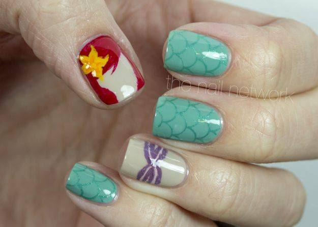 Summer Nail Art Wave 11: Ariel Outline. Ariel really is a huge influence for beach-loving individuals. Heres another Little Mermaid-inspired nails from The Nail Network. This one only uses outlines of the famous Disney princess but her tail is included this time! #littemermaid #arielnails
