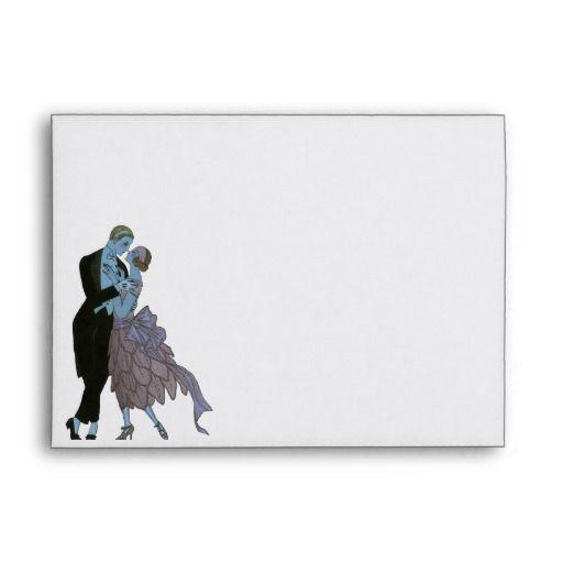 Vintage Art Deco, Newlyweds Love Wedding Dance Envelope