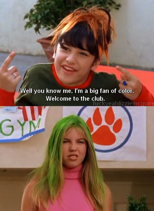 "When it comes to hair color, bright and crazy equals chic and classy. | 25 Important Fashion Lessons From ""Lizzie McGuire"""