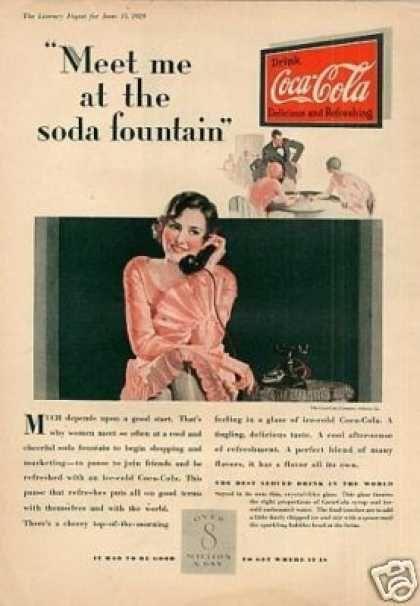 Coca Cola Color Ad Meet Me At The Soda 1929 Coca Cola