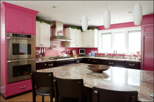 Double Oven Cabinet  and HOT PINK KITCHEN! Yes please!