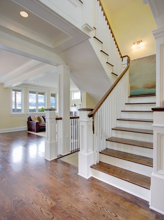 Stairs staircase design and banisters on pinterest - Home designer stairs with landing ...
