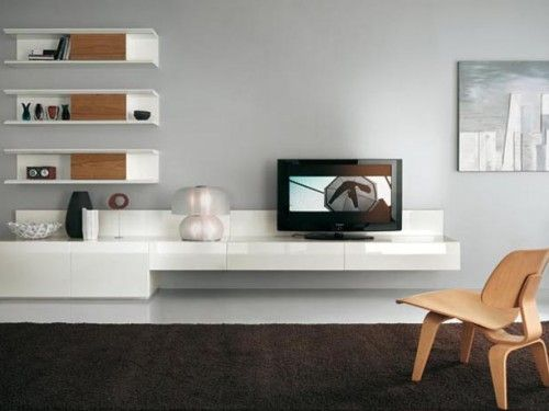 modern minimalist wall units for living room