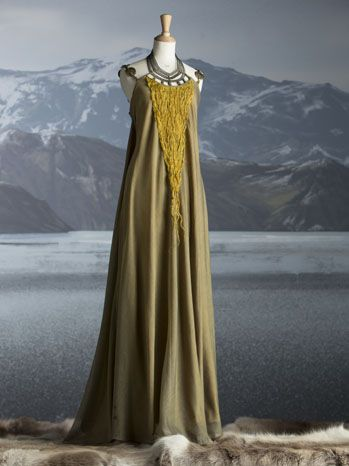 The Costumes of 'The Vikings' chartreuse  berry dyed creation worn by Ragnar's…