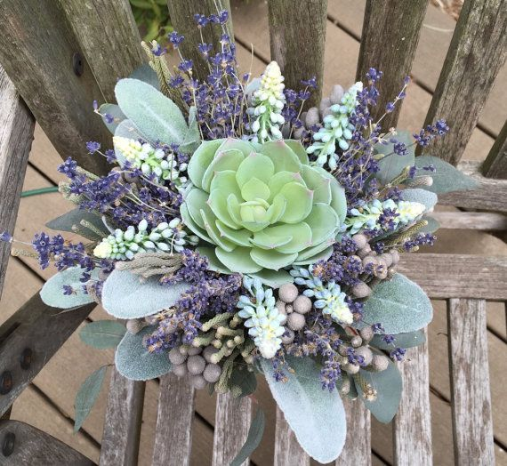 Wedding Bouquet~Faux Green Succulent, Dried Lavender, Silver Brunia, Lambs Ear, Hyacinth Bridal Bouquet Decoration. by Hollysflowershoppe