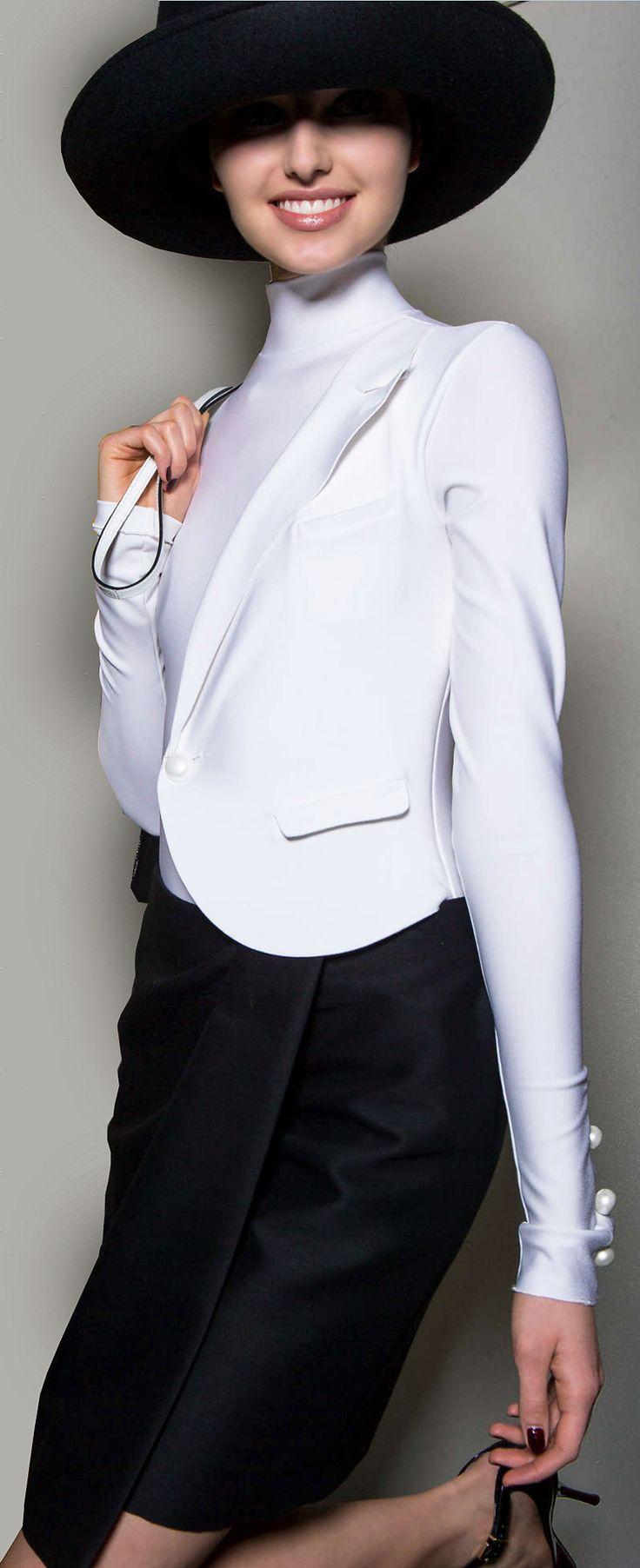Classy Armani white blazer and black skirt