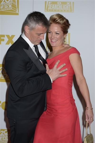 """Matt LeBlanc got frisky with girlfriend Andrea Anders at Fox's Golden Globe Awards party in Beverly Hills, Calif., on Jan. 31, 2013. Come on, Matt. Don't try and tell us that Joey's classic """"How you doin'?"""" still works on the ladies."""